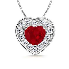 Heart Pendant With Ruby in 14k White Gold