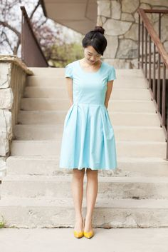 Modest dresses with structured skirts