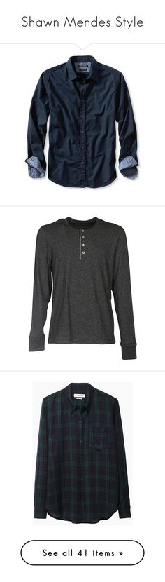 """""""Shawn Mendes Style"""" by amyobie ❤ liked on Polyvore featuring shawnmendes, men's fashion, men's clothing, men's shirts, men's casual shirts, men, shirts, tops, men's tops and preppy navy"""