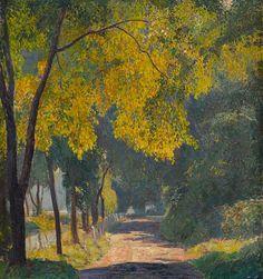 "DANIEL GARBER (American 1880-1958) ""THE RIVER ROAD"" Signed 'Daniel Garber' bottom left, oil on canvas 30 x 28 in. (76.2 x 71.1cm) #FreemansAuction"