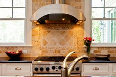 """Neutralize"" your Kitchen with Neutral Backsplash Ceramics: Beige Stone Kitchen Backsplash Designs ~ topdesignset.com Kitchen Designs Inspiration"