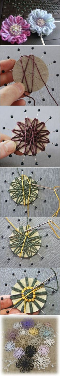 Rustic twine flowers (or jute flowers) are easy to make and adorable to use for whatever accessorizing you have planned. You can put them on vases, picture fram Twine Flowers, Yarn Flowers, Diy Flowers, Crochet Flowers, Crochet Stars, Hobbies And Crafts, Diy And Crafts, Arts And Crafts, Fleurs Diy