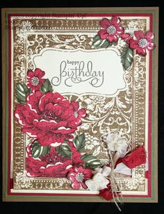Ex Libris in Soft Suede and Stippled Blossoms in Cherry Cobbler ~Stamping Shanni