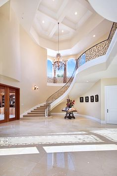 New house goals dreams luxury stairs Ideas Grand Staircase, Staircase Design, Staircase Ideas, Curved Staircase, Staircase Railings, Hallway Ideas, Luxury Homes Interior, Home Interior Design, Luxury Decor