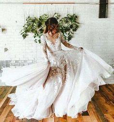 Sexy Bridal Dresses with Long Sleeve,Lace Wedding Dress,Custom Made Prom Dress,JD 32