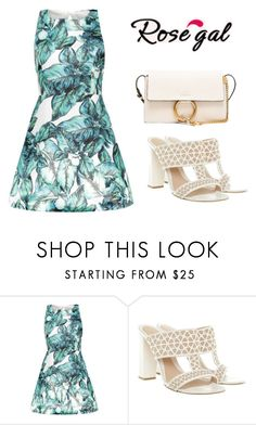 """""""Rosegal- Print Dress"""" by lindsay75 ❤ liked on Polyvore featuring Alexander McQueen and Chloé"""