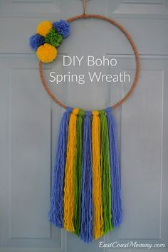 Easy, inexpensive, and cheerful. I love thie DIY boho Spring wreath! Craft Tutorials, Diy Projects, Boho Diy, Spring Has Sprung, Creative Inspiration, Holiday Fun, Party Planning, Fun Crafts, Crochet Necklace