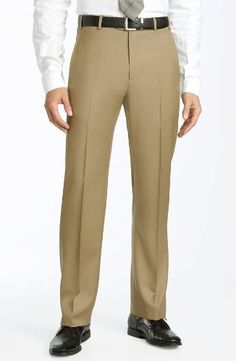 Presidential Mens Separates Slacks Flat Front Pants Beige