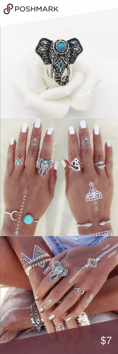 🎀Bohemian elephant ring🎀 Bohemian elephant ring. New in packaging. Silver hardware with turquoise accent stones. Alloy metal. NO TRADES, OFFERS OR MODELING!!! Jewelry Rings