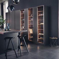 16 Ideas luxury glass kitchen cabinets for 2020 Office Interior Design, Office Interiors, Kitchen Furniture Inspiration, Glass Kitchen Cabinets, European Kitchens, Modern Kitchens, Cool Bookshelves, German Kitchen, Cuisines Design