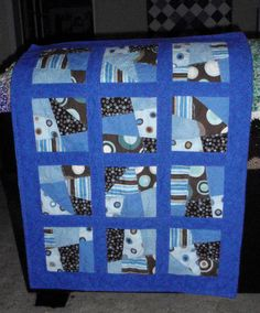 Crazy quilt for a baby boy.  Love the blues and browns together.  4/8/12  29.5 x 38.5  Sold 4/23/12
