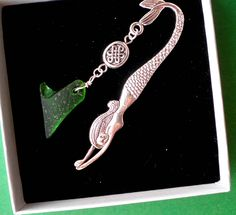 bookmark celtic bookmark of mermaid with celtic knot charm and heart shaped seaglass or mermaids tear boxed chritmas gift christmas gift for dadirish