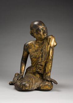 he monk Shariputra, chief disciple of the Buddha approx. 1850–1925 Burma Lacquered and gilded wood with colored glass The Avery Brundage Collection, B60S599