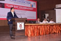 Prof. Dr. Mukund Sarda,Dean & Principal, New Law College with Hon'ble Adv. Harshad Nimbalkar, Chairman, Bar Council of Maharashtra and Goa delivering discourse on eve of the Law Day Celebrations organised by New Law College Pune on 26/11/2015 #MukundSardaNews #MukundSardaPune #MukundSardaCollege #MukundSardaCampus