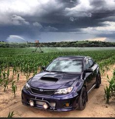 Nice Subaru WRX sitting on a dort road with a light bar / rally lights. A Subaru being put to good use!