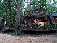 THE HOSTEL IN THE FOREST has operated as an International Youth Hostel for 35 years. Geodesic domes and 9 tree houses built and sustained entirely by volunteers. The Hostel sits on 133 acres of forest and wetlands, 2 miles from in Brunswick, Georgia. International Youth Hostel, Brunswick Georgia, Outside Showers, St Simons Island, Small Lake, Natural Homes, Geodesic Dome, Stone Houses, The Good Place