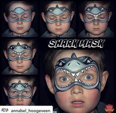Shark Face Painting, Face Painting For Boys, Diy Face Paint, Mask Face Paint, Animal Face Paintings, Animal Faces, Face Painting Tutorials, Face Painting Designs, Shark Makeup