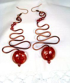 Cercei Red Glass- margele/ sarma de cupru/ abstract/urban Urban, Red Glass, Abstract, Handmade Jewelry, Jewels, Summary, Handmade Jewellery, Jewerly, Jewellery Making