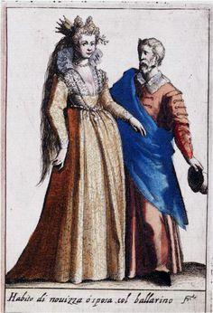 Dress of Bride and her Dancing Master from Habiti d'huomeni et donne Venetiane byGiacomo Franco, 1609