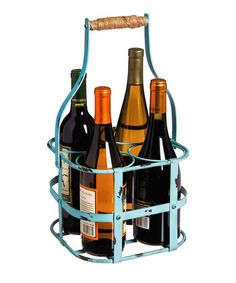 ($30) Another great find on #zulily! Robin's Egg Metal Wine Bottle Holder #zulilyfinds