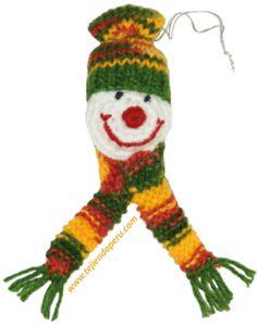 Carita de hombre de nieves tejida en dos agujas o palillos