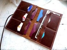 Large brown leather passport wallet family passport wallet