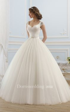 Ball Gown Long V-Neck Short-Sleeve Backless Tulle Dress With Beading, Kleider Hochzeit, Cute Wedding Dress, Wedding Dress Trends, Wedding Dress Sleeves, Princess Wedding Dresses, Modest Wedding Dresses, Designer Wedding Dresses, Bridal Dresses, Princess Bridal, Trendy Wedding