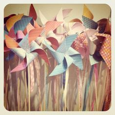 DIY Pinwheels - Supper fun and cute as favors and/or in centerpieces!