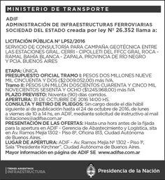 CRÓNICA FERROVIARIA: Llamado a Licitación Servicio de Consultoría Campa...