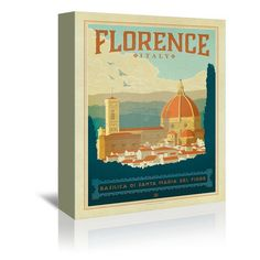 """East Urban Home Florence Italy Vintage Advertisement on Wrapped Canvas Size: 48"""" H x 32"""" W x 1.5"""" D"""