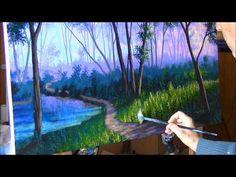 Como Pintar Bosque Niebla Atardecer 3/4 Camino Lago estanque - YouTube