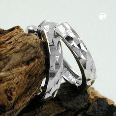 Creole, diamantiert, Silber 925  Klappscharnier, Waffelmuster, anlaufgeschützt rhodiniert