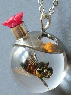 I'll Be Your Sweet Honey Bee Necklace Made With Real Insect In Resin Orb. $85.00, via Etsy.