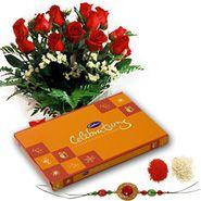 Flowers Cadbury Celebration With Rakhi For Brother