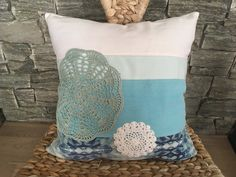 White & Mint Recycled Denim Pillow With Crochet Doily , Decorative Pillow , Country Pillow , Quilt Pillow , Denim Decorative Throw Pillow by SecondBirthday on Etsy