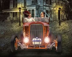 Frankie Goes To Hollywood .... | Flickr - Photo Sharing!  That time of year again .... I love to do the Hot Rod Halloween images. Frankie and his bride on their way to the premier of the movie Halloween. Hot Rod Art by Rat Rod Studios, www.RatRodStudios.com.