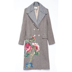 Gucci Grey Vintage Embroidered Coat ($6,900) ❤ liked on Polyvore featuring outerwear, coats, multi, gray coat, embroidered coats, vintage coats, grey coat and gucci coat