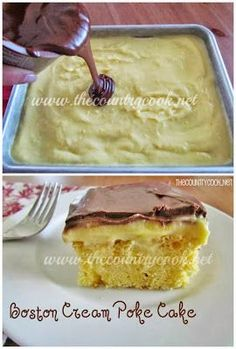 Boston Cream Poke Cake recipe from The Country Cook. One of the original poke cake recipes that started the poke cake popularity all over the internet. Just like boston cream pie but so much easier to make!