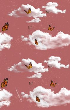 Butterfly Wallpaper Iphone, Cartoon Wallpaper Iphone, Trippy Wallpaper, Cloud Wallpaper, Homescreen Wallpaper, Iphone Background Wallpaper, Retro Wallpaper, Cute Pastel Wallpaper, Orange Wallpaper