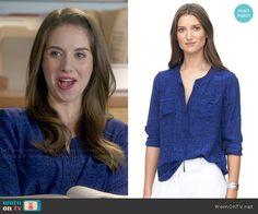 Annie's blue printed blouse on Community.  Outfit Details: http://wornontv.net/48641/ #Community