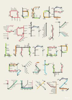 London-based designer and illustrator Tim Fishlock posterized Harry Beck's famous alphabet made of sections and lines from the London Underground map. David Sacks book offers a range of typographic styles to look at Alphabet Design, Font Alphabet, Design Letters, Typography Letters, Graphic Design Typography, Type Design, Web Design, Mind Map Design, Design Fonte