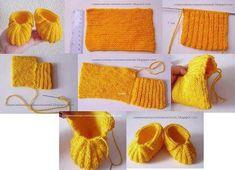 sarı bebek patiği yapımı