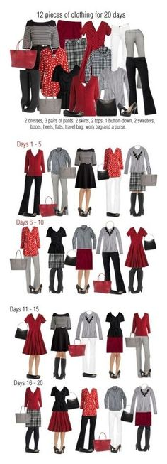 12 pieces: 20 days on Polyvore featuring J.Crew, Frye, Lands' End, Old Navy, Nine West, Samsonite, Tory Burch and Kate Spade. Red, white and black.