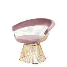 Soleil Blush Velvet Gold Rods Chair