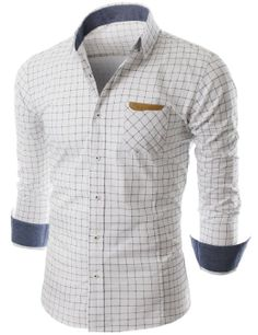 Doublju Mens Plaid Slim Dress shirts