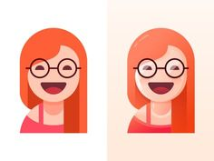 Glasses sister illustration - flat or gradient double style ~ by icon design shading light dimension Ppt Design, Icon Design, Graphic Design Tutorials, Graphic Design Inspiration, Vector Design, Vector Art, Design Art, Book Design Graphique, Illustration Design Graphique