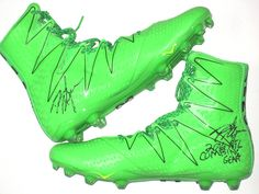 32029d1eca7 David Morgan 2016 NFL Combine Issued   Signed Neon Green   Black Under  Armour Cleats College