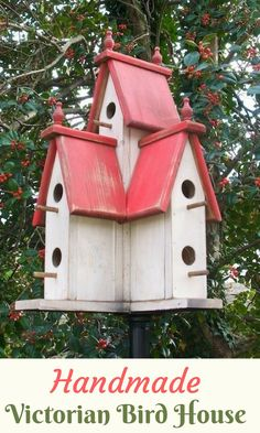 Handcrafted of pine and given a distressed finish, the Large Victorian Birdhouse would truly be a haven for your neighborhood birds, with openings on all four sides. #ad #handmade