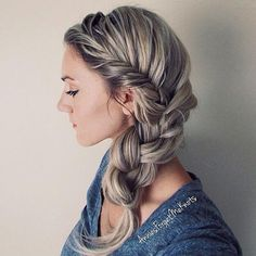 French fishtail braid into a regular three strand braid from @anniesforgetmeknots.