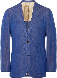 $895, Freemans Sporting Club Blue Slim Fit Cotton Jacquard Blazer. Sold by MR PORTER. Click for more info: https://lookastic.com/men/shop_items/266945/redirect
